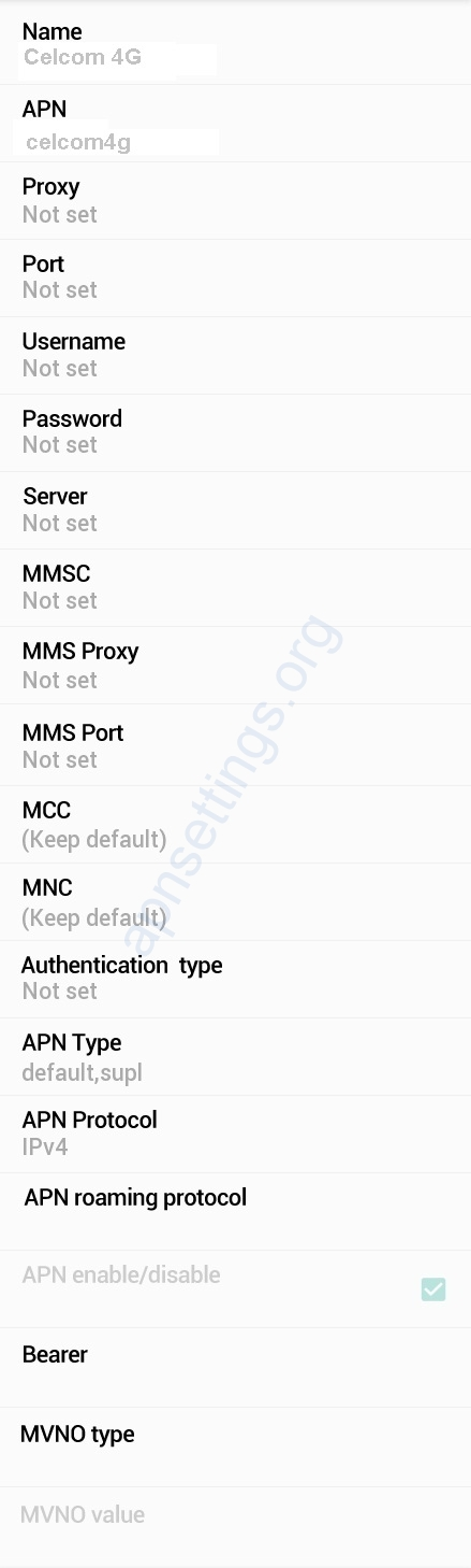Celcom APN Settings for Android