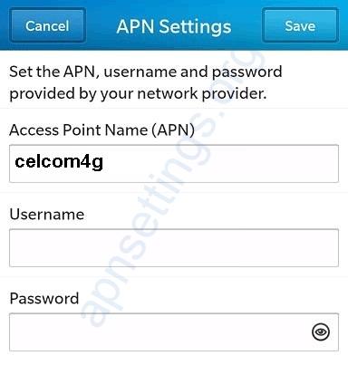 Celcom Blackberry 4G APN