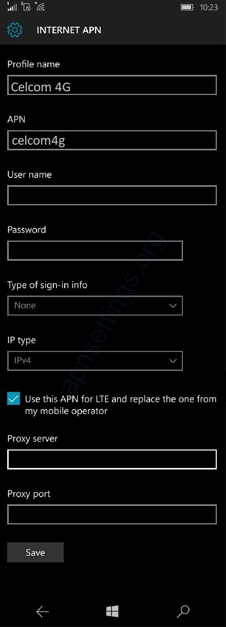 Celcom Windows Phone Internet Settings