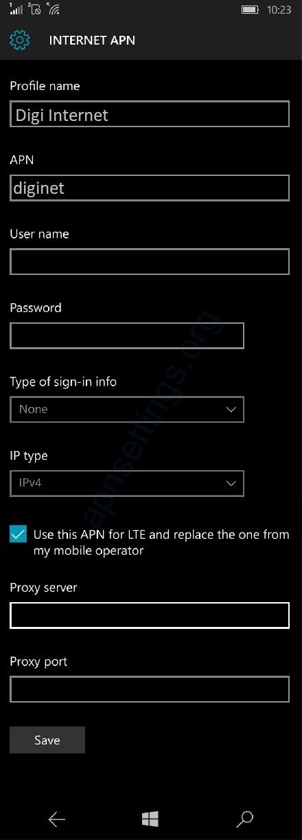 Digi Mobile APN Settings for Windows Phone