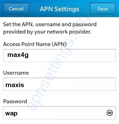 Maxis 4G APN Settings for Blackberry