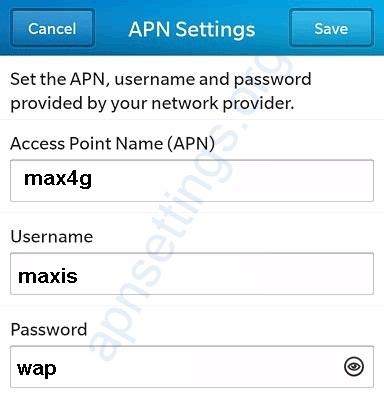 Maxis 4G APN Settings for Blackberry