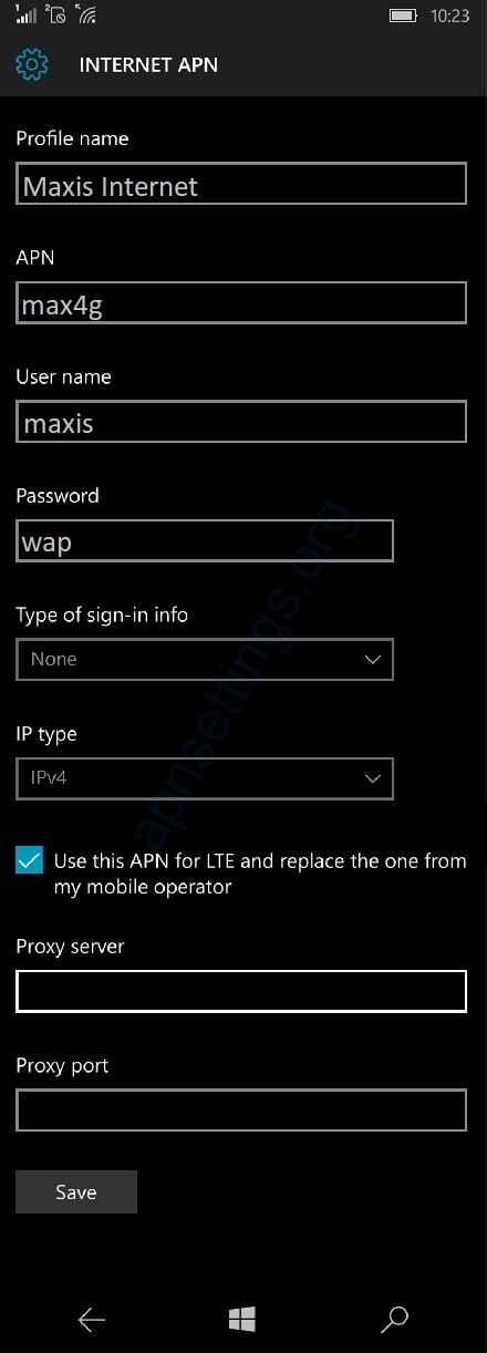 Maxis Internet Settings for Windows Phone