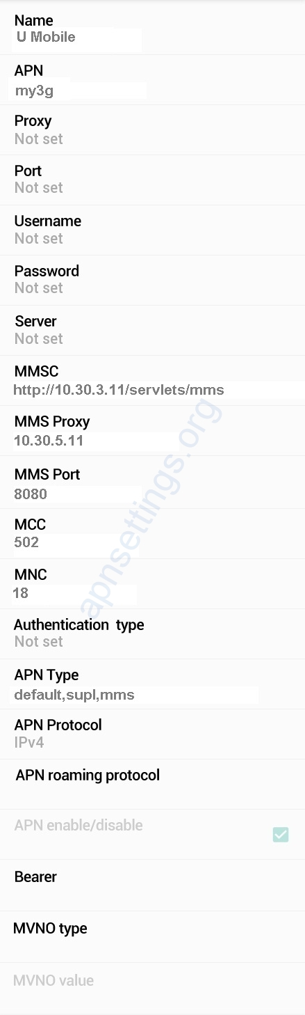 U Mobile APN Settings for Android