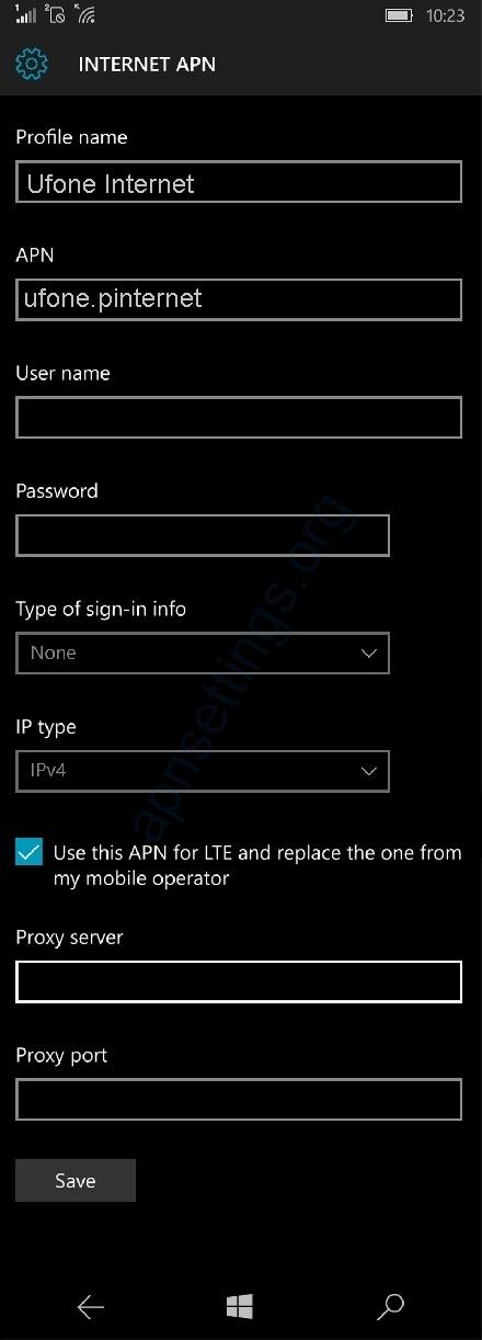 Ufone Internet settings for Windows Phone