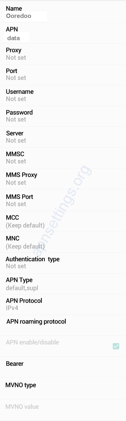 Ooredoo Myanmar APN Settings for Android