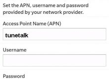 Tune Talk Blackberry APN Settings