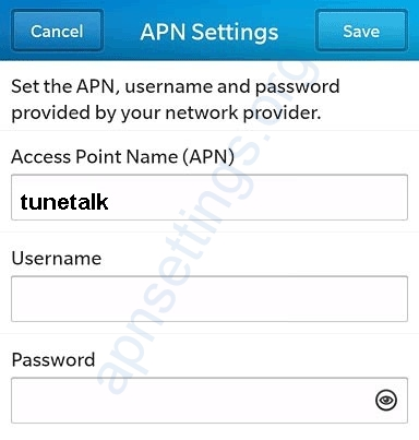 Tune Talk Blackberry APN Settings