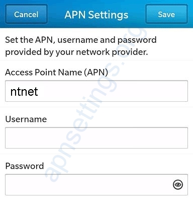 Blackberry APN NTC