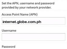 Globe Blackberry Internet Settings