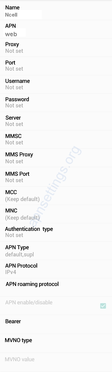 Ncell APN Settings for Android