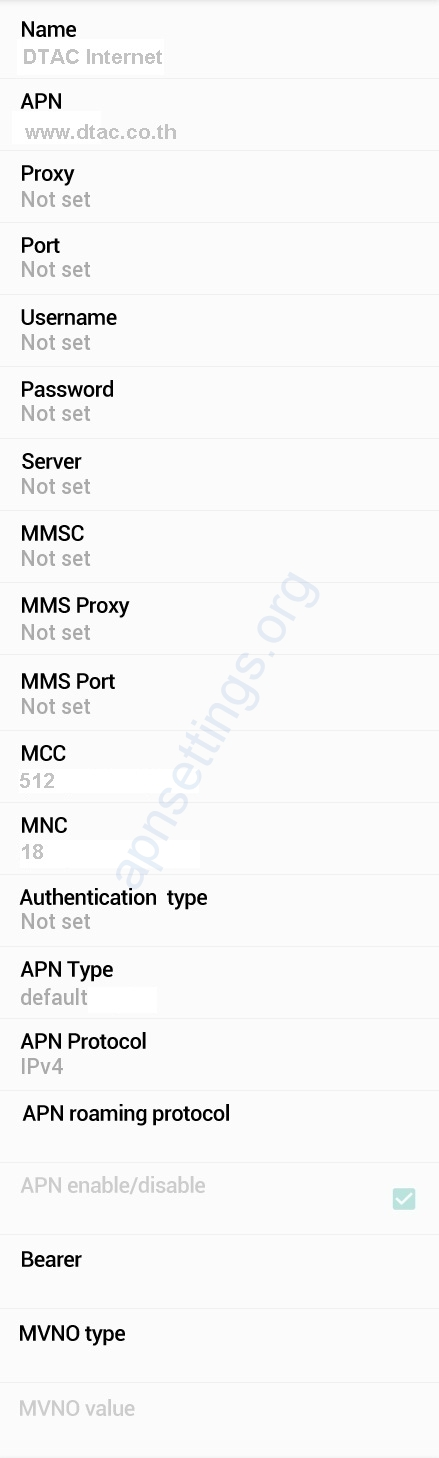 DTAC APN Settings for Android