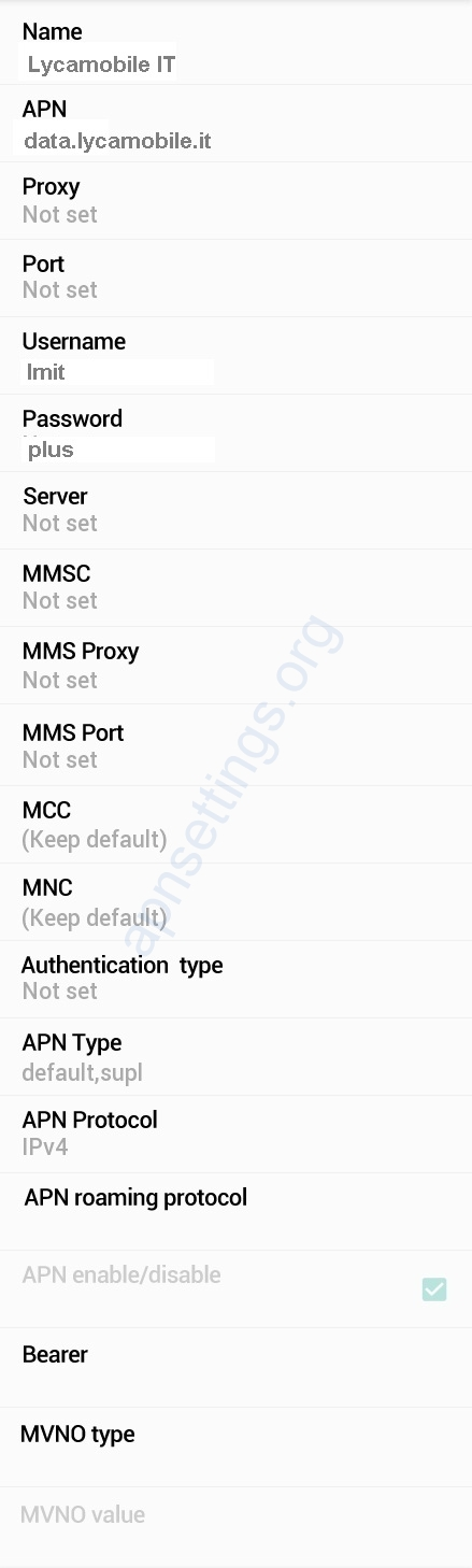 Lycamobile Italia APN Settings for Android