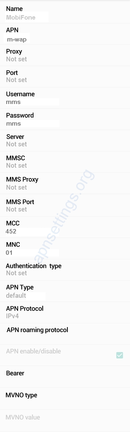 MobiFone 3G APN Settings for Android