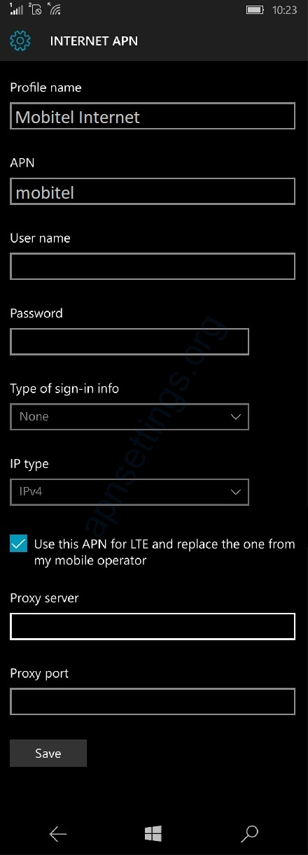 Mobitel APN Settings for Windows Phone