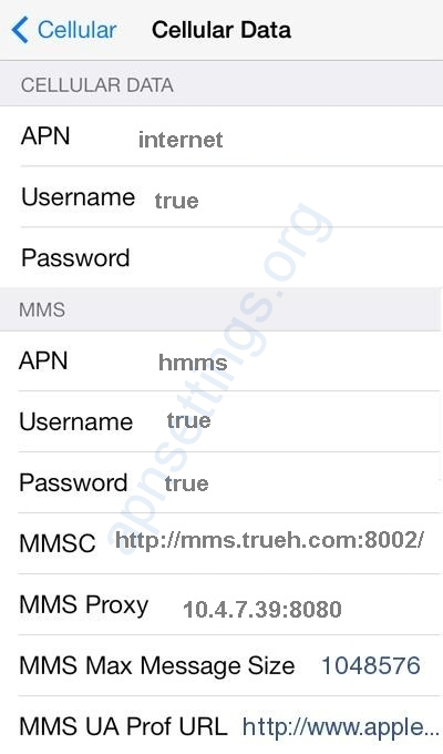 Truemove H APN Settings for iPhone