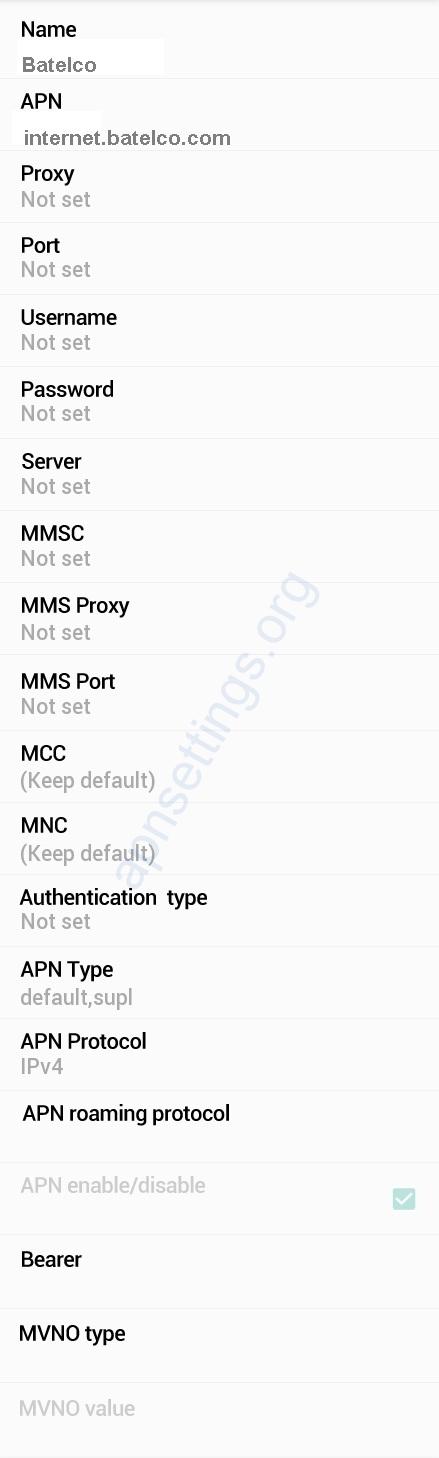Batelco 4G APN Settings for Android