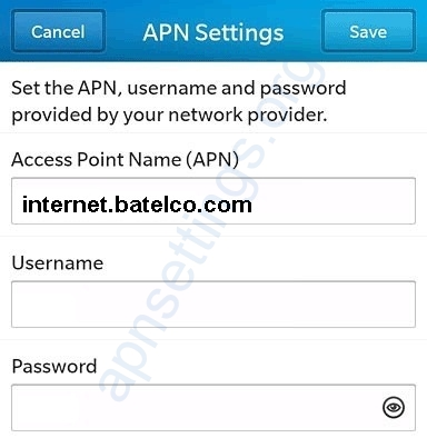 Batelco APN Settings for Blackberry