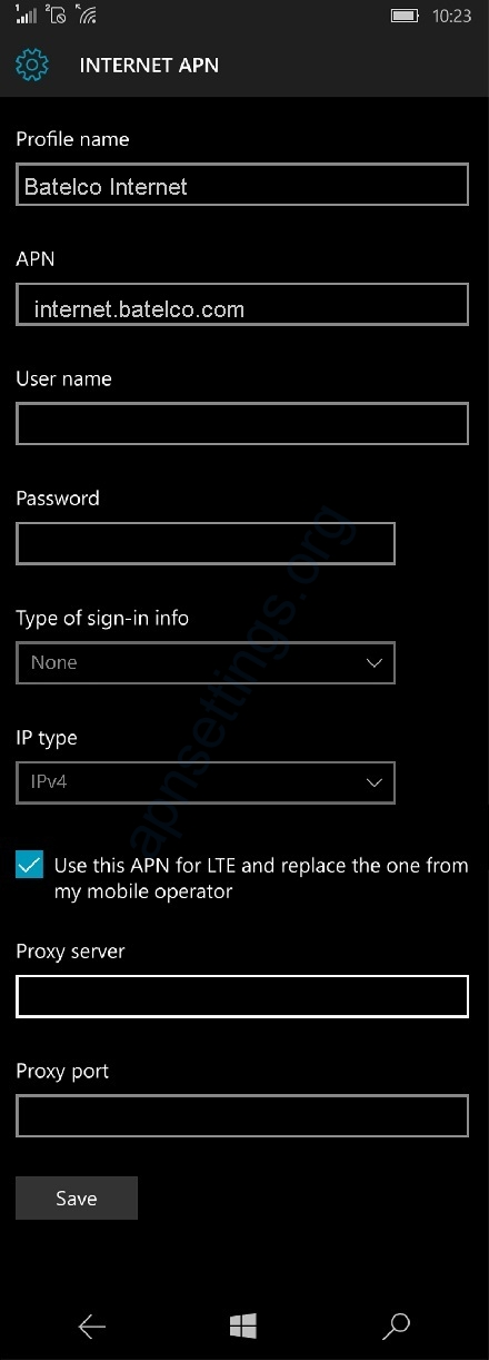 Batelco Internet Settings for Windows Phone
