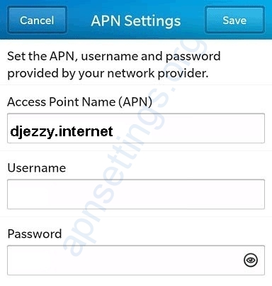 Djezzy Blackberry APN Settings
