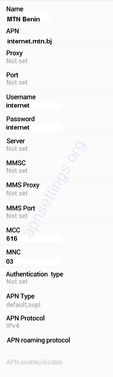 MTN Benin APN Settings for Android