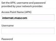 Mascom Internet Settings for Blackberry
