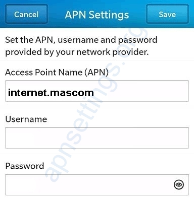 Mascom Internet Settings for Blackberry