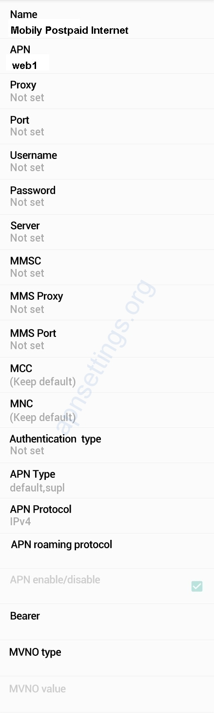 Mobily 4G APN Settings for Android
