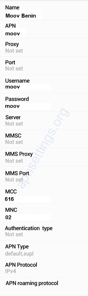 Moov Benin APN Settings for Android