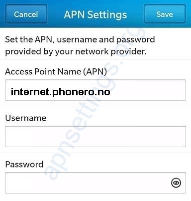 Phonero APN Innstillinger på Blackberry