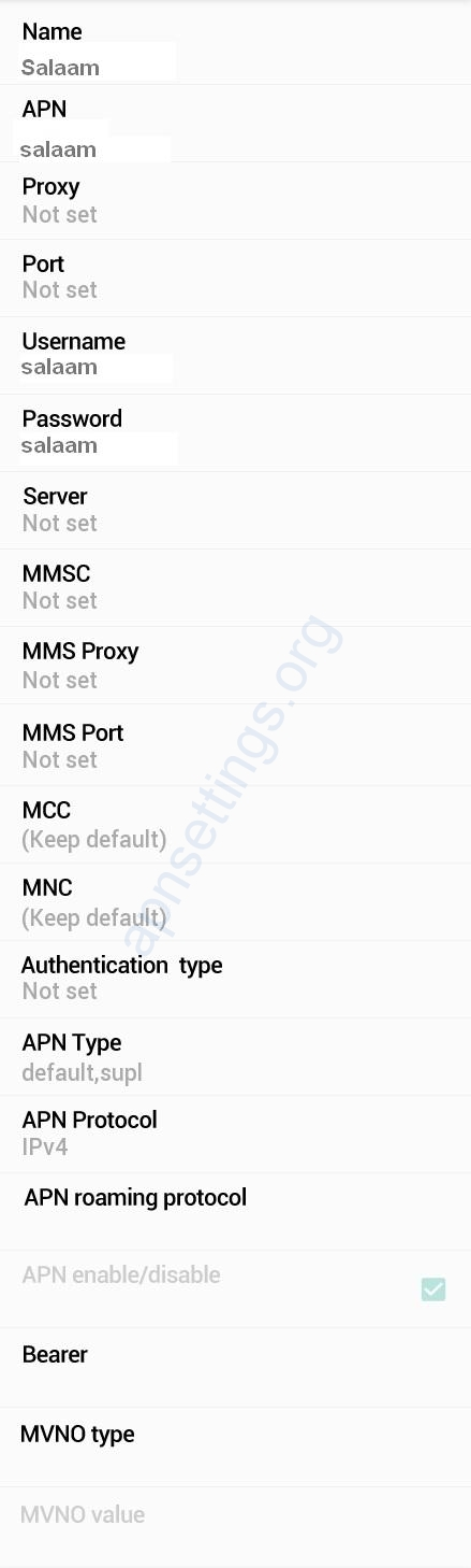 Salaam 3G APN Settings for Android