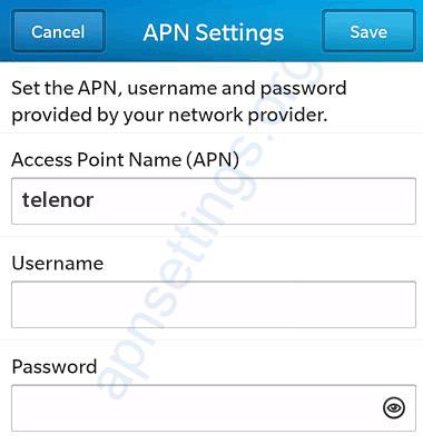 Telenor Blackberry APN innstillinger