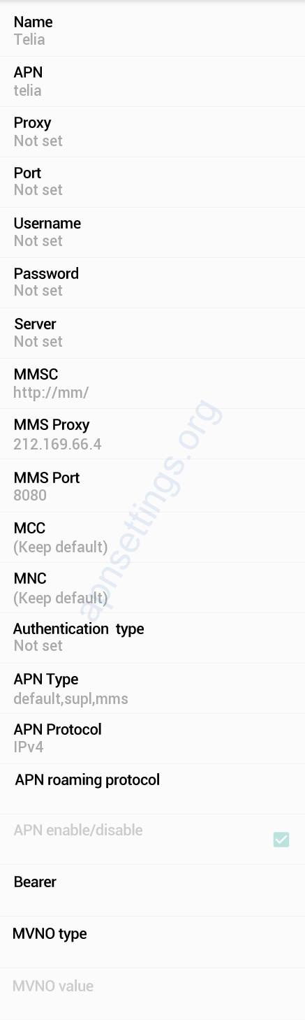 Telia manuelt APN oppsett på Android