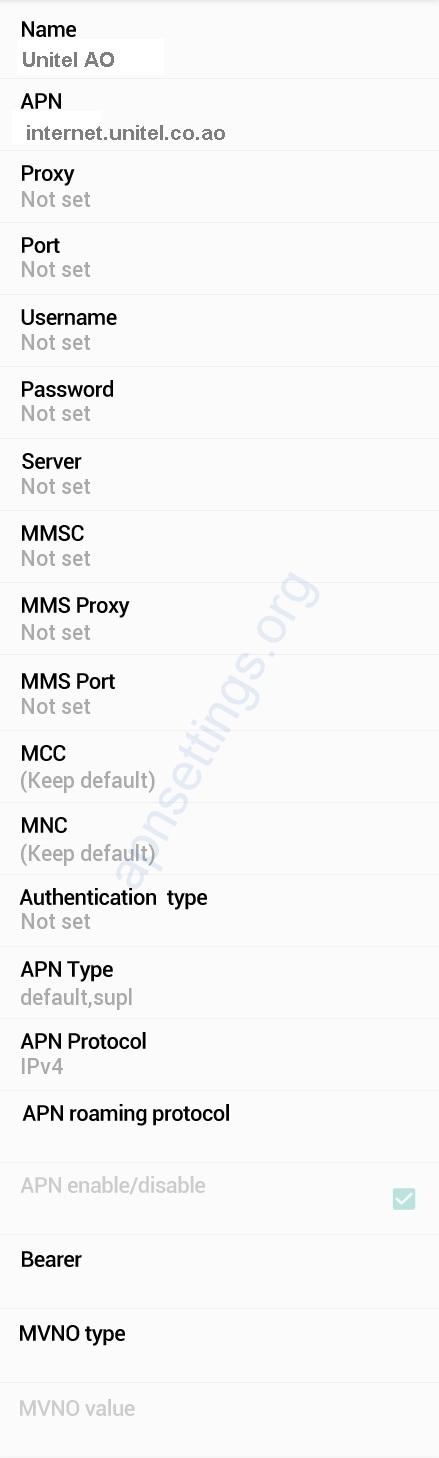 Unitel Internet APN Settings for Android Angola