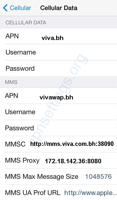 Viva Bahrain APN Settings for iPhone iPad