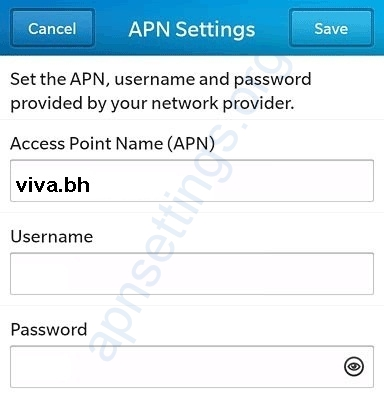 Viva Bahrain Blackberry APN Settings