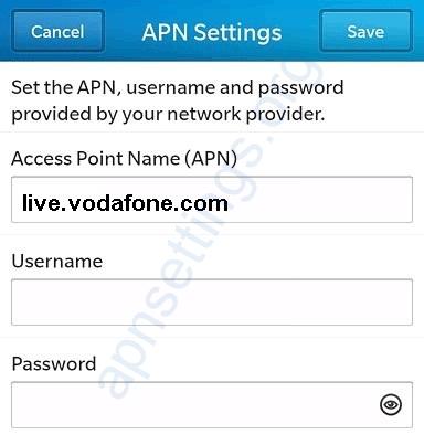 Vodafone NL APN Instellingen Blackberry