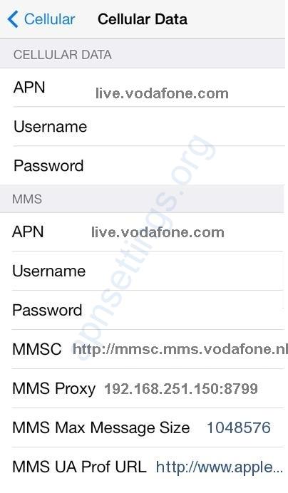 Vodafone NL APN Instellingen iPhone