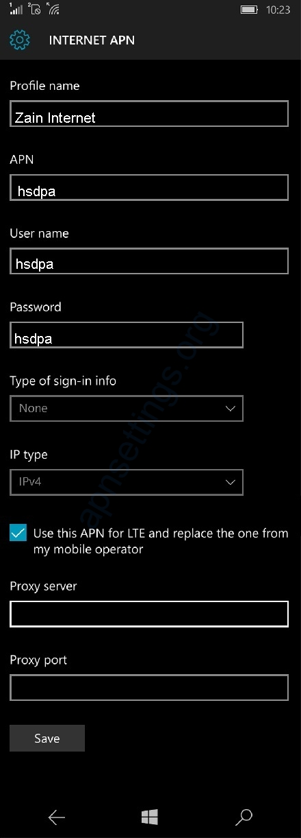 Zain APN Settings for Windows Phone Bahrain