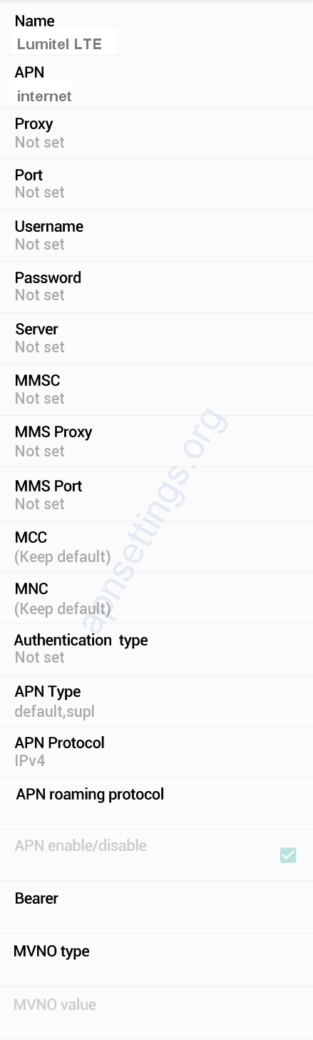 Lumitel APN Settings for Android
