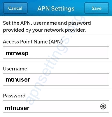 MTN Cameroon Blackberry Internet Settings
