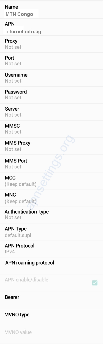 MTN Congo APN Settings for Android