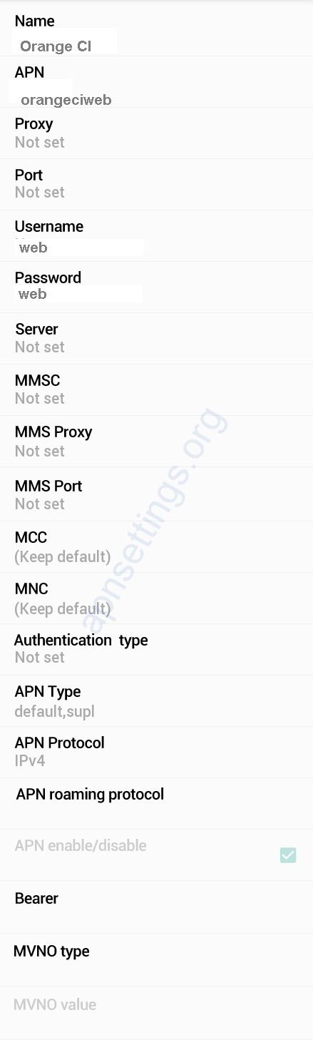 Orange Ivory Coast APN Settings for Android