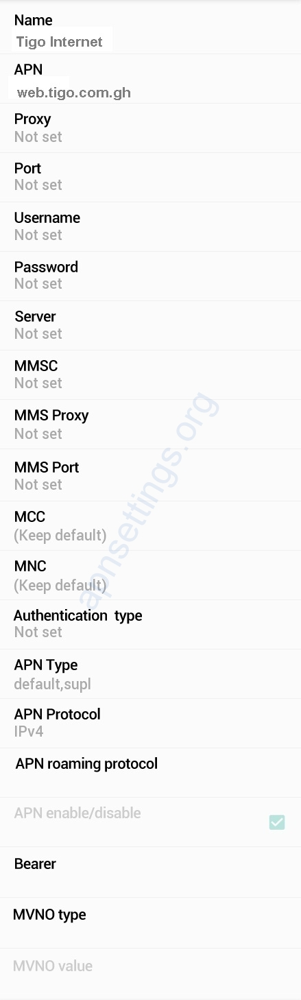 Tigo Ghana Internet Settings for Android