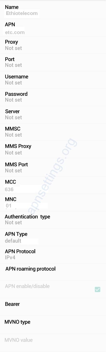Ethio telecom APN Settings for Android