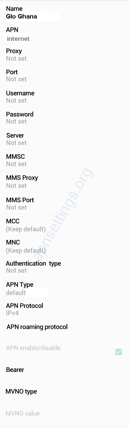Glo Ghana APN Settings for Android
