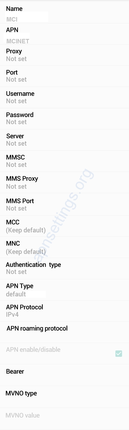 Hamrahe Aval 4G Internet Settings for Android