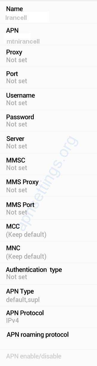 MTN Irancell APN Settings for Android