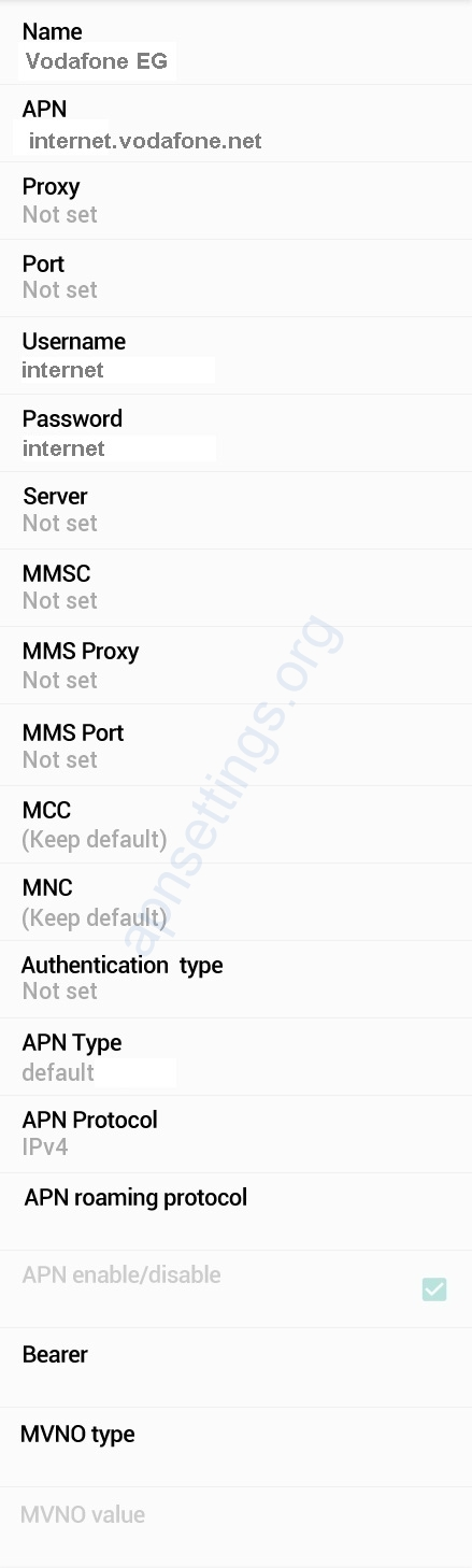 Vodafone Egypt APN Settings for Android
