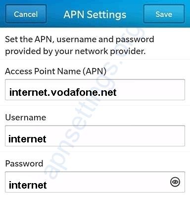 Vodafone Egypt Blackberry APN Settings